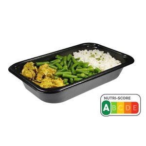 Kipreepjes curry met sperziebonen en rijst